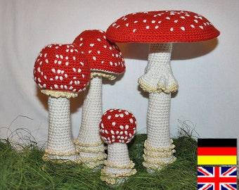 Mushroom - crochet pattern - Toadstool (Fly Agaric), PDF in English, Deutsch