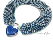 Locking Submissive Day Collar Silver & Blue Dragon Scale Chain with Blue Heart Shaped Padlock