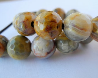 Large Hole Faceted Crazy Lace Agate Beads Earthy Red Brown 12mm Smooth Polished 2.5mm Hole 8 Beads