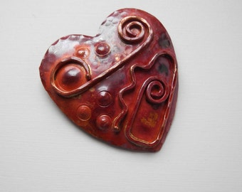 Solid Copper Heart Pendant Hand Crafted Red Patina 48mm