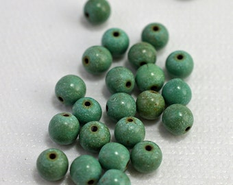 Chalk turquoise, green, 6mm - #1894