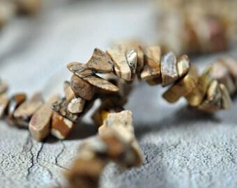 """Picture jasper chips, 30"""" strand, #418"""