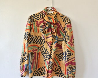 Vintage Abstract Print Blouse - Long Sleeve Button Down Blouse with Detachable Bow / Belt - Size Large - Gift For Her