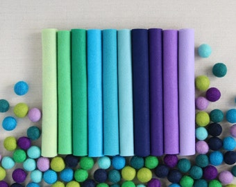 Wool Felt // Cools Palette // Cool Colors, Cool Colored Crafts, Green Felt, Blue Felt, Purple Felt, Cool Hues, Cools Fabric Spectrum