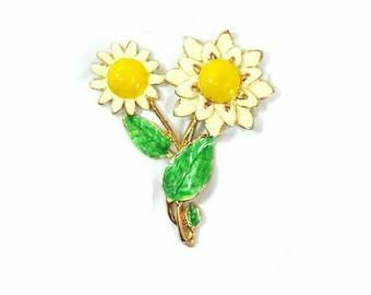 Vintage double sunflower brooch