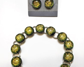 Gold Foil Fused Dichroic Glass Bracelet and Earring Set