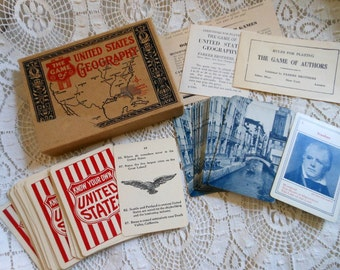 US Geography Card Game & Authors Parker Brothers Vintage at Quilted Nest
