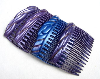 Vintage hair combs 4 celluloid hair accessories mid century decorative hair comb hair jewelry (XYB)