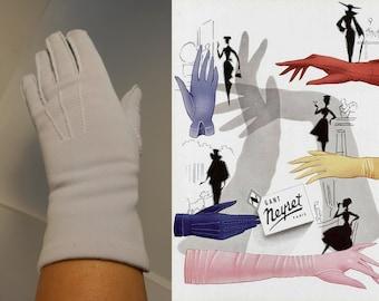 Light Lilac Kisses - Vintage  1950s Pale Lilac Lavender Nylon Over the Wrist Gloves - 6.5