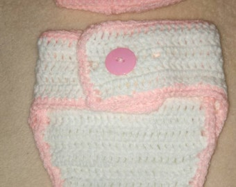 Pink White  Hat Diaper Cover Set Photography Prop