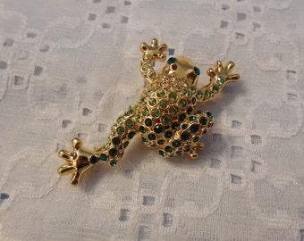 Ribit!  Stunning Vintage Rhinestone Frog Brooch Pin by Monet