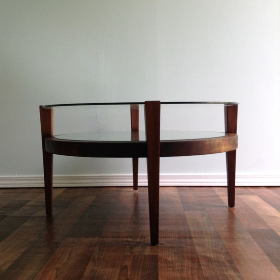 Vintage Coffee Table Mid Century Sleek Art Deco Round Two