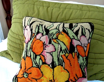vintage pillow.needlepoint. 80's.oranges! flower power.yellows.celery green.black.tessiemay vintage
