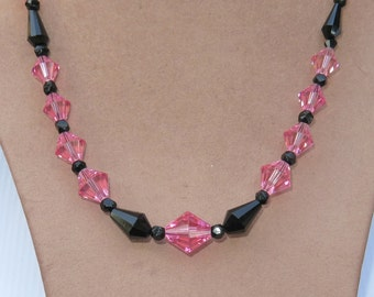 Vintage Hot Pink Black Crystal Bead Art Deco Czech Glass Necklace