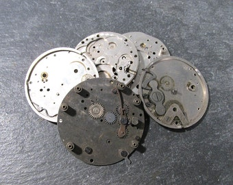 Watch Parts VINTAGE Gears Jewels Five (5) Watch Guts Mechanical Movements Gears Plates Gears Watch Repair Jewelry Assemblage Supplies (T240)