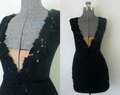 Black Plunging Bodycon Dress Vintage 1990s Party Club Leotard Dress