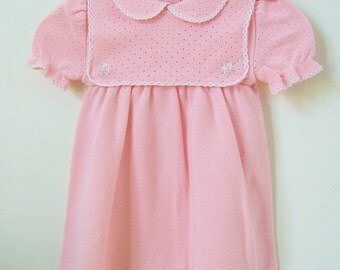 Vintage Girls Summer/Spring Dress - 2 T -  Little World Knits - 1980s - Pink/White Trim - Embroidered Flowers - Gift for Kids - Made in USA