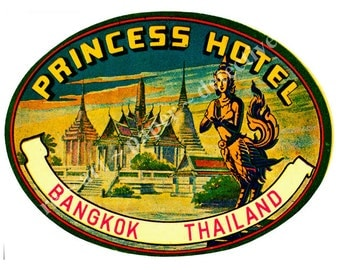 Bangkok Thailand Hotel Luggage Label Sticker - Luggage Label Suitcase Sticker Label, Princess Hotel Travel Trunk Decal, Authentic Sizes, D75