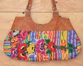 Vintage 80's Purse Beautiful Embroidered Ethnic Thai  Striped Bag, Rainbow Color, Leather Detail