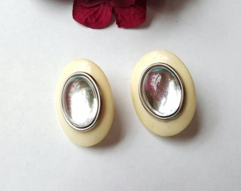 Vintage Lucite Earrings Large Oval White Clip On Vintage Jewelry