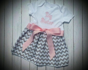 Big sister Grey Chevron dress, Monogramed, Girls Dress, Dress with pink bow, personalized, Big sister dress