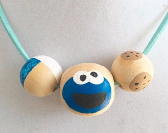 Cookie Monster Hand-Painted Necklace, for kids, wooden beads sesame street cookies