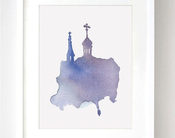 Russian Church Watercolor - Fine Art Print