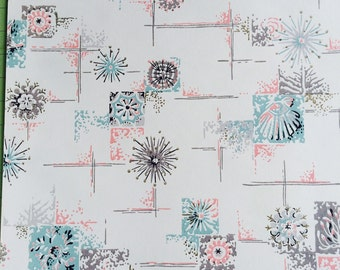Vintage Wallpaper - Sea Shells Pink Blue 1940's - 1 Yard