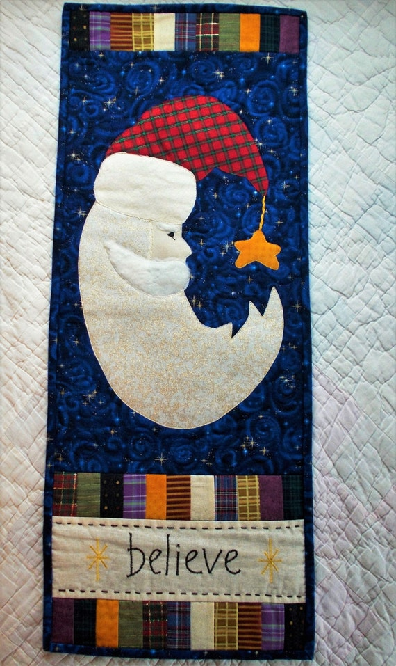 Santa I Believe Quilted Wall Hanging/Old world Charm Quilted Santa/Christmas Banner Quilt