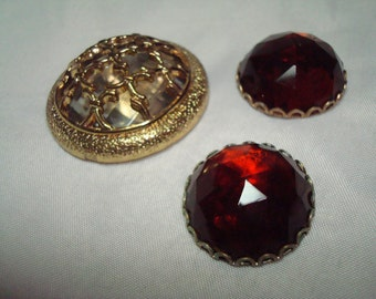1970s Destash of Large Facetted Jeweled Findiings.