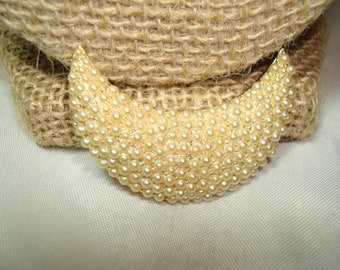 1960s Gold Tone Pearl Encrusted Half Moon Crescent Moon Pin.