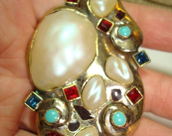 1984 Baroque Turquoise Sapphire and Ruby Like Large Pin Pendant Combo.