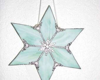 Lt. Green Streaky Glass 6 point star