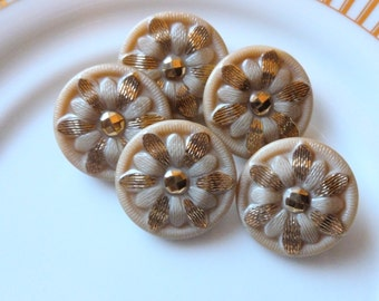 Antique Czech's Buttons, Beige with Gold Hand Painted flowers, Circa 1930's, Caramel,  Button Jewelry, Rare, Taupe and Gold Glass Buttons