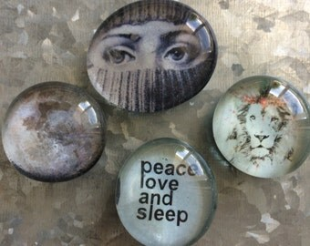 Peace Love and Sleep set of four Glass Magnets