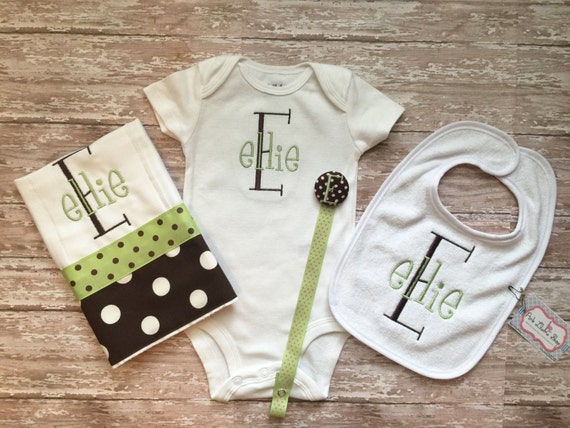 Green and Brown Monogrammed Baby Gift Set for Girl or Boy Burp Rag, Onesie, Paci Clip, and Bib