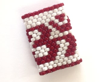 Om Dreadlock Bead - Sleeve For Medium Dreads in Red and White - Ring size 1.5
