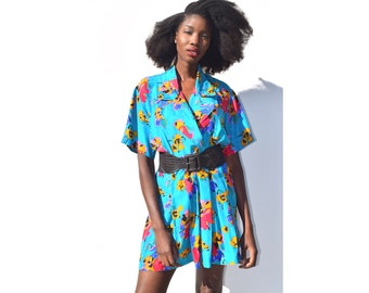 Gorgeous turquoise and colorful floral silk minidress 1990s 90s VINTAGE