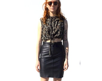 Black leather pencil mini skirt 1990s 90s VINTAGE