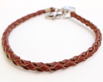 Saddle Cut Leather Wallet Chain, Hand Braided, Whiskey Brown Men's Leather Wallet Chain, Thick Cut Key Chain, Fish Hook Trigger Clasp