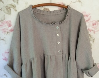Washable Linen Tunic Shirt Jacket Asymmetric Sweet Ruffled Prairie Lagenlook One Size up to 52 Bust