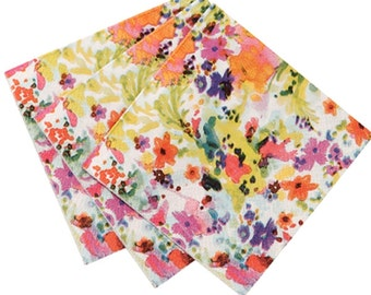 "Beverage Floral Watercolor napkin 4""-pkg40"