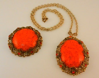 West Germany Necklace  with Interchangeable Pendant Brooches Bright Orange with Rhinestones & Filigree Jewelry Set