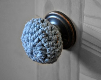 3 Rustic Blue Door Knob Covers Modern Design Toddler Protection Crocheted Home Decor Custom Colors