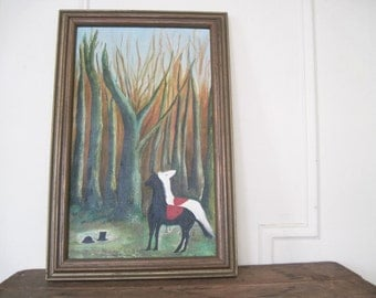 at the edge of a forest - vintage amateur art, acrylic painting - black stallion + white horse + a top hat
