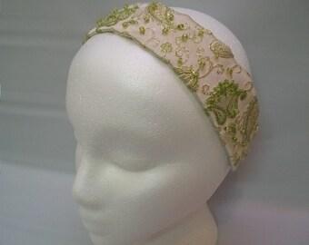 Handmade Headband, Simple Thin Headband, White and Gold Brocade Fabric Headband, with Elastic Strap, Lightly Beaded, Lightly Embellished,