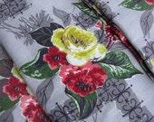 3 Pair of Gray Floral Barkcloth Curtains, Rose Print, Kirsch, 13 Yards Fabric