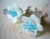 Ice Blue Flower Dangle Earrings ~ Swarvoski Crystal, Flower, Silver, Victorian, Garden, Spring, Gift for Her