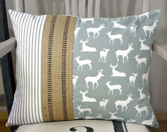 Gray Pillow Cover - Deer Pillow Cover -  Gray & White - Gray Ticking Pillow - Jute Webbing - Cabin - Cottage - Farmhouse