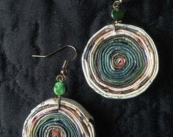 """n. 32 TEAL GREEN & earth Tone round COILED recycled paper pierced earrings with glass beads measure 1.25"""""""